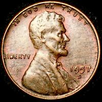 1957-D WHEAT CENT ERROR COIN DIE BREAK IN LIBERTY ON OBVERSE KM A132