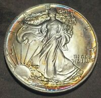 1988 AMERICAN SILVER EAGLE ASE RAINBOW TONED OBVERSE GREAT COLOR TONING