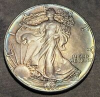 1986 AMERICAN SILVER EAGLE ASE DUEL SIDED TONER GREAT MIX OF COLORS AND TONING