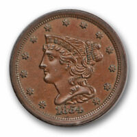 1854 1/2C BRAIDED HAIR HALF CENT UNCIRCULATED MINT STATE BROWN BN 322