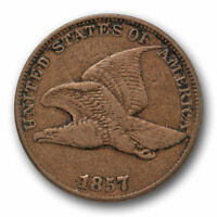 1857 FLYING EAGLE CENT  FINE TO EXTRA FINE SNOW 9 S-9 CLASHED WITH 50C 8422
