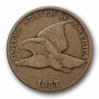 1857 FLYING EAGLE CENT FINE F US COIN SNOW 9 CLASHED WITH 50C 10641