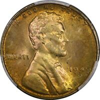 1949-S 1C LINCOLN WHEAT CENT PCGS MINT STATE 65 RB RED BROWN  OLD COIN PENNY
