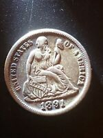 1891 10C SEATED LIBERTY DIME EXTRA FINE  UNCERTIFIED