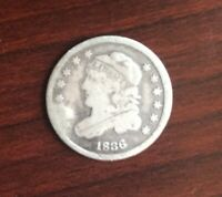 1836 US CAPPED BUST HALF DIME 5 CENTS SILVER COIN