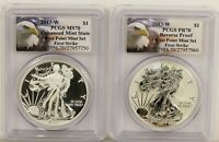 2013-W SILVER EAGLE WEST POINT TWO COIN SET PCGS MS70 & PR70 FIRST STRIKE