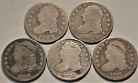 LOT OF  5  CAPPED BUST DIMES 1823 1825 1830 1832 1837 BETTER