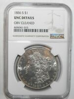1886-S MORGAN SILVER DOLLAR, NGC UNC DETAILS, OBV. CLEANED