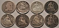 LOT  8  BUST AND SEATED LIBERTY HALF DIMES 1832 1837 1847 18