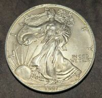 1997 AMERICAN SILVER EAGLE ASE UNC BETTER DATE NICE COIN