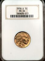 1938 D BUFFALO NICKEL GRADED MS66 BY NGC