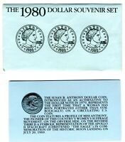 1980 UNITED STATES SUSAN B ANTHONY 3 COIN DOLLAR SET IN ENVE