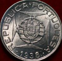UNCIRCULATED 1938 PORTUGAL MOZAMBIQUE 10 ESCUDOS SILVER FORE