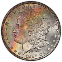 1884 PARTIAL E REV $1 PCGS MINT STATE 64 VAM-2A  TWO SIDE RAINBOW TONED TOP-100 MORGAN