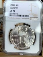 1984 P SILVER OLYMPIC $1 NGC MS 70   PRICE GUIDE $275   PERF