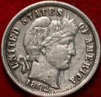1892 O NEW ORLEANS MINT SILVER BARBER DIME
