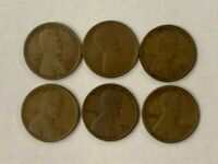 LOT OF 6 LINCOLN WHEAT CENTS 1910S 1911S 1912S 1913S 1914S 1