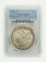 1887-S $1 MORGAN SILVER DOLLAR PCGS MINT STATE 62