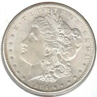 1904-S HIGH-END ALMOST UNCIRCULATED MORGAN SILVER DOLLAR - READ NOTE BELOW