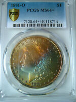 1881-O RAINBOW TONED MORGAN DOLLARPCGS MINT STATE 64COLORFUL OBVERSE RAINBOW TONING