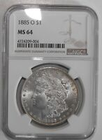 1885-O MORGAN SILVER DOLLAR, NGC MINT STATE 64