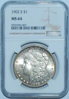 1902 S NGC MINT STATE 64 MORGAN SILVER DOLLAR