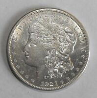 1921-S MORGAN SILVER DOLLAR, ABOUT UNCIRCULATED