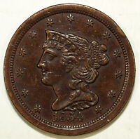1854 AU C-1 BRAIDED HAIR HALF CENT  GREAT FOR SETS  476