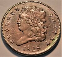 1828 CLASSIC HEAD HALF CENT HIGH GRADE DETAILS BETTER TYPE HALF PENNY 1/2C COIN
