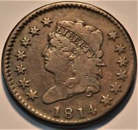 1814 CLASSIC HEAD LARGE CENT MIDDLE GRADE BETTER DATE/TYPE PENNY NICE LOOK 1C