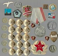 RARE OLD MILITARY PIN MEDAL COIN LOT VINTAGE COMMUNIST CCCP