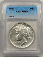 1921 PEACE DOLLAR - ICG AU-58, WHITE