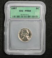 1957 PROOF JEFFERSON NICKEL ICG PR-68 18Q0