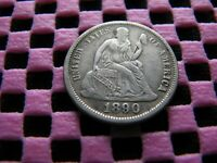 1890-P SEATED DIME WITH MISPLACED DATE IN GOWN
