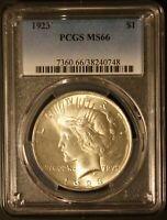 1923 PCGS MINT STATE 66 PEACE DOLLAR  LUSTER SHARP COIN.