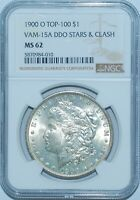 1900 O NGC MINT STATE 62 VAM-15A DDO DOUBLED STARS AND CLASH TOP-100 MORGAN SILVER DOLLAR