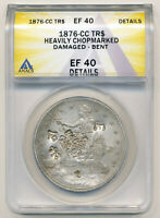 1876 CC TRADE DOLLAR. BOLD CHINESE CHARACTER CHOP MARKED. EF40 DETAILS.
