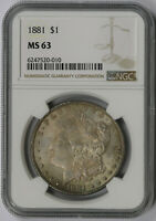 1881 MORGAN DOLLAR SILVER $1 MINT STATE 63 NGC TONED