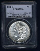 U.S. 1882-S MORGAN SILVER DOLLAR BRILLIANT UNCIRCULATED PCGS CERTIFIED MINT STATE 64