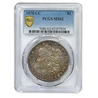 1878-CC PCGS MINT STATE 62 MORGAN SILVER DOLLAR COIN RED TONING