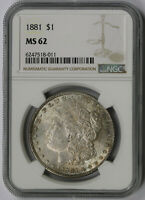 1881 MORGAN DOLLAR SILVER $1 MINT STATE 62 NGC TONED