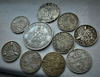 LOVELY LOT OF 10 X  BRITISH  SILVER COINS  GEORGE V & VI PRE
