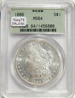 1886 $1 PCGS MINT STATE 64 OGH  VAM 17 DOUBLE ARROWS TOP-100 MORGAN DOLLAR