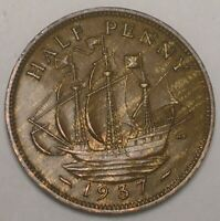 1937 UK GREAT BRITAIN BRITISH HALF 1/2 PENNY WARSHIP COIN VF