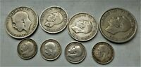 LOVELY LOT OF 8 X  BRITISH SILVER COINS  GEORGE V & VI PRE 1