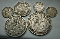 LOVELY LOT OF 6 X  BRITISH SILVER COINS  GEORGE V & VI PRE 1