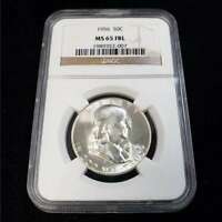 1956 US FRANKLIN SILVER HALF DOLLAR 50C NGC MS65 FBL COLLECT