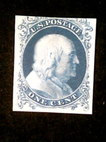 U S STAMPS SCOTT 40P4 ONE CENT FRANKLIN PROOF ON CARD BLUE M