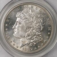 1887-S MORGAN $1 PCGS CERTIFIED MINT STATE 64 SAN FRANCISCO MINTED SILVER DOLLAR COIN