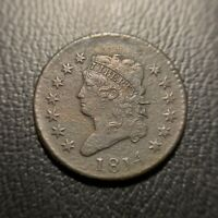1814 CLASSIC HEAD LARGE CENT CHOICE EXTRA FINE   FINE VARIETY TYPE COIN EAC
